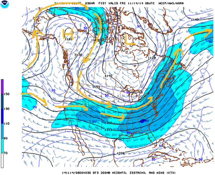 Upper level wind forecast for Nov. 14, 2014 at midnight C.S.T. Note the omega-shaped wind pattern across the northeast Pacific, Alaska and western Canada. (NOAA/NWS, H. Michael Mogil)