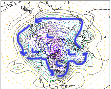 "Upper level wind pattern at 6:00 a.m. C.S.T. on Jan. 8, 2014. Blue arrows show wavy wind flow pattern surrounding a large ""polar vortex."" (US Navy/FNMOC)"