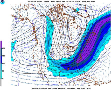 Same as Fig. 01, except for 6:00 a.m. C.S.T. on Nov. 19, 2014. Upper trough across eastern U.S. is expected to amplify. (NOAA/NWS)