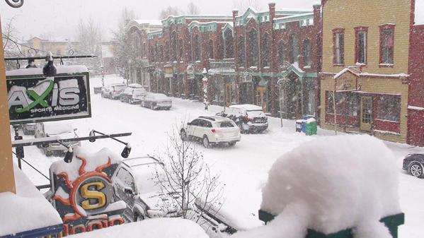 Snowy scene in Breckenridge! Two days until opening day and MORE snow is on the way.