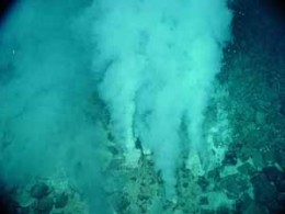 Methane plumes rising from the seafloor