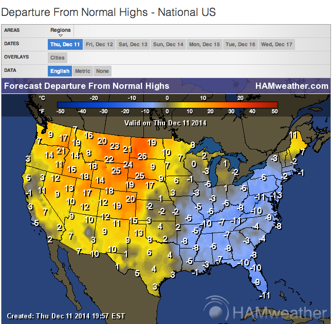 departure from normal highs