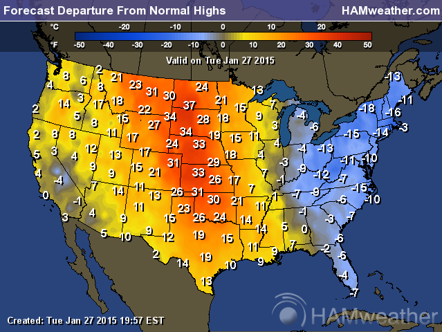 The Map Above Shows The Departure From Normal High Temperatures For The Us This Map Is For Tuesday January 27 2015 Which Is Exactly The Same Time As