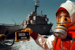 Greenpeace documenting Russian ship TNT27 dumping nuclear waste  in the Sea of Japan.