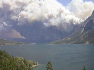 Glacier National Park burning