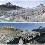 These photos of the Rhone Glacier, located in the Swiss Alps, were taken in 2007 (top) and 2014 (bottom) and offer an example of recent rapid glacial melt. Such melt is the subject of a new study, which evaluated decades of documentation to determine the rate of glacial melt for hundreds of glaciers. Simon Oberli