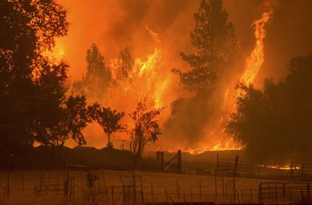 Flames from the Butte fire rise over a pasture in Mountain Ranch