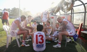 Sydney Swans players swelter at Henson Park on Friday. Photograph: Mark Kolbe/Getty Images