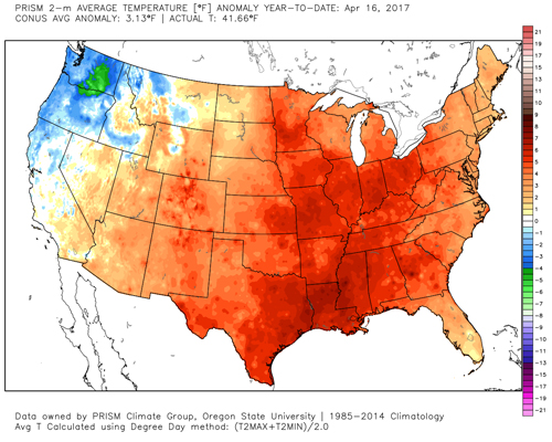 Year to date (through April 17) temperature difference from normal (1985-2014) over Lower 48.