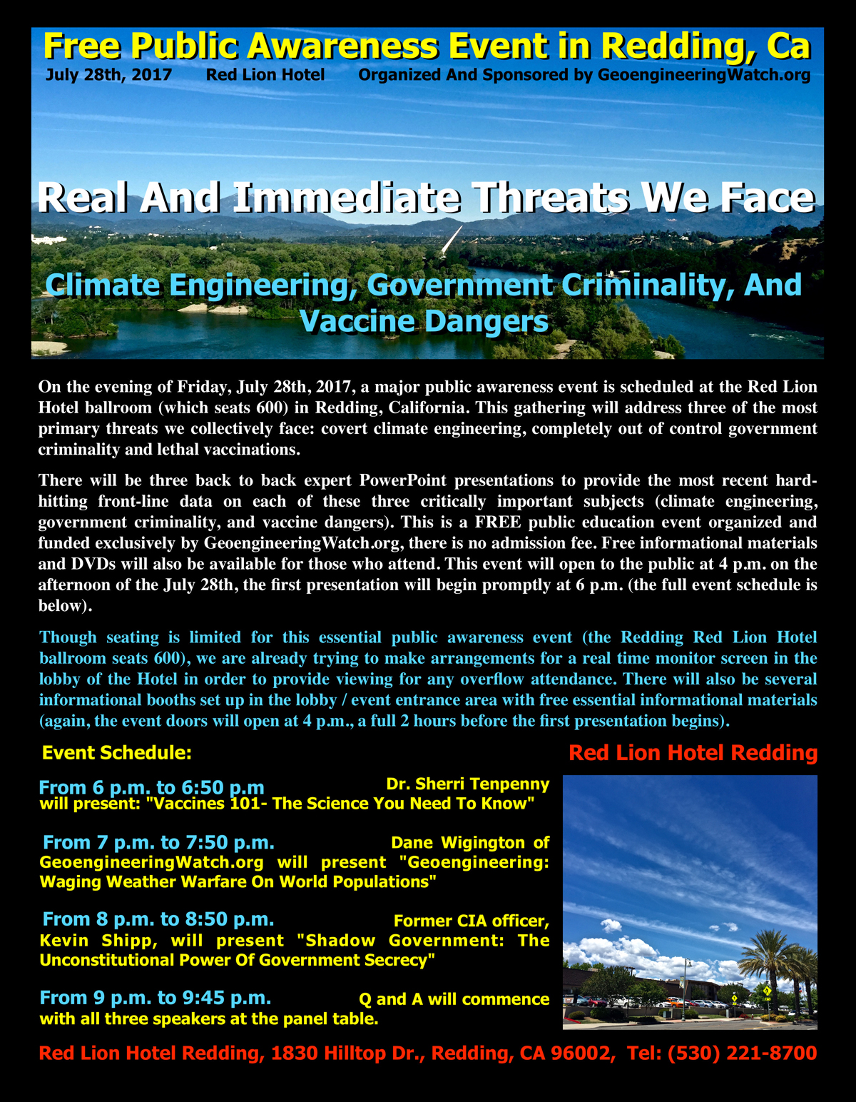 Climate Engineering, Government Criminality, And Vaccine Dangers: Major Northern California Event